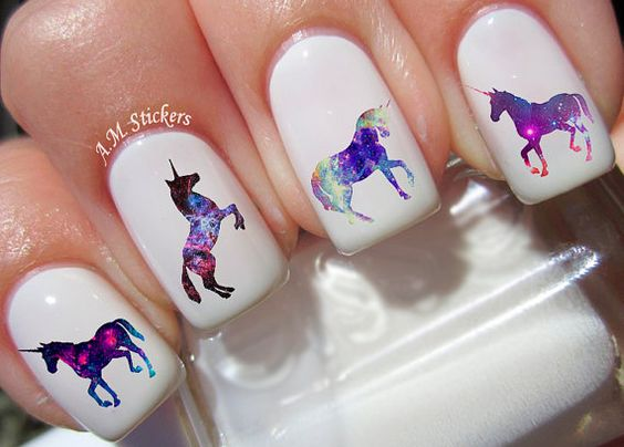 Galaxy Unicorn nail decals, very pretty, bright stickers with unique designs.