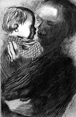 Käthe Kollwitz: Mother With Child In Arms [etching] 1910: