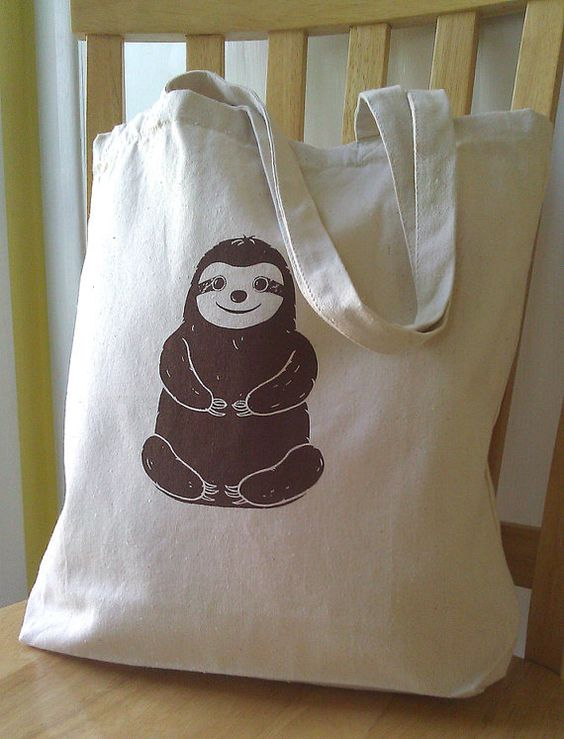 Sloth Tote Bag Canvas by catbirdcreatures on Etsy, $12.00