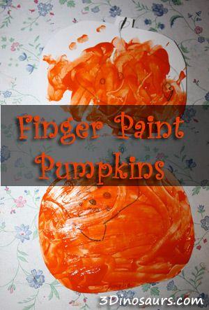 Finger Paint Pumpkins - 3Dinosaurs Halloween Preschool - halloween activities ideas