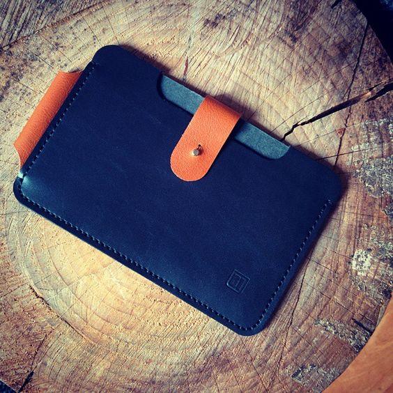 """iPad mini case with a loop for a 53 pencil stylish.  #handmade #leatherwork #handsewn #ipad #apple #53"""