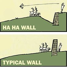 A landscape structure to enclose livestock while also preserving the view, known as a Ha-ha. Ha ha wall diagram.jpg:
