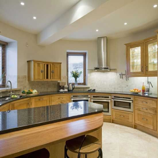 circular kitchen design.  Circular kitchen Kitchens Kitchen design and Solid oak furniture