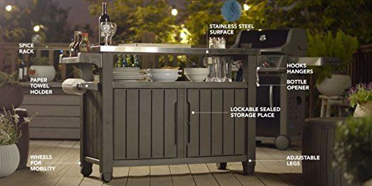 Amazon Com Keter Unity Xl Indoor Outdoor Entertainment Bbq Storage Table Prep Station Serving Cart With Metal Patio Storage Outdoor Bbq Entertainment Storage