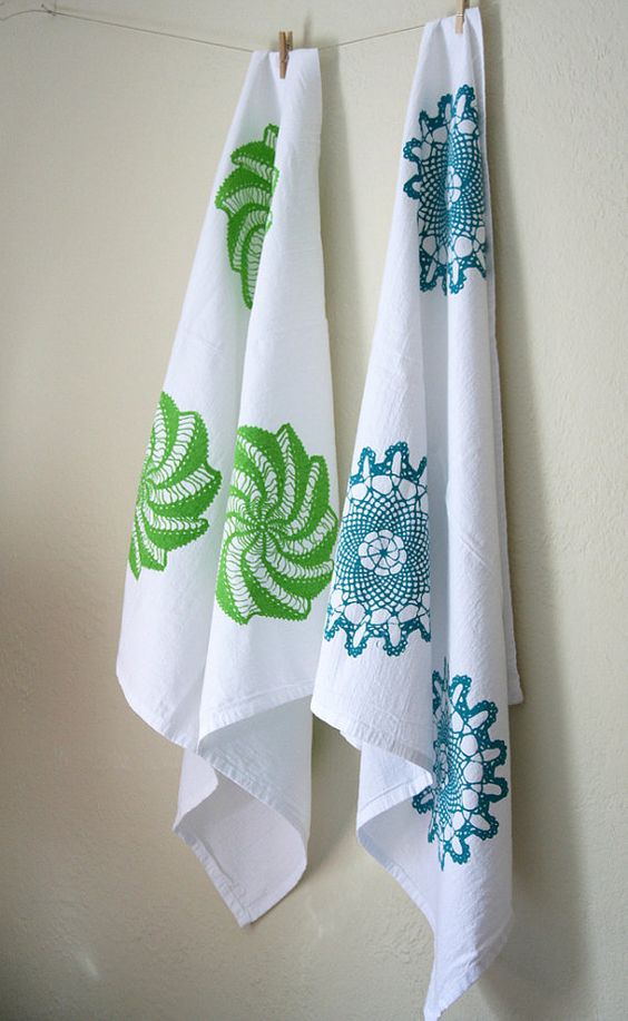 Tea Towel Cotton Flour Sack Turquoise Doily by PonyAndPoppy