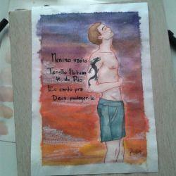 Menino do Rio #arte #art #homem #man #pentel #aquarela #watercolor #tombow #copic #pasteloleoso #oilpastel (em Cidade Universitária - Barão Geraldo.)