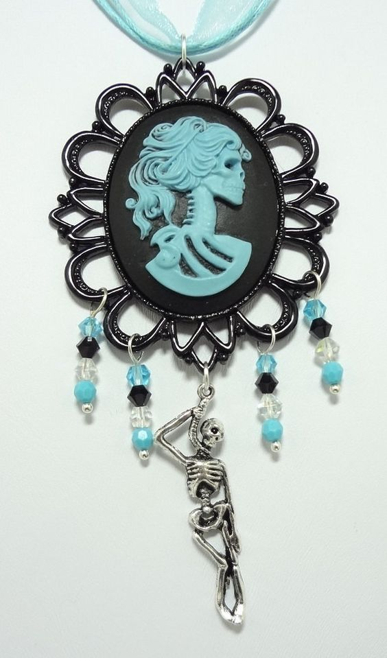 Gothic Lolita Necklace with Blue Czech Crystals, Cemetery Gate and Skeleton Charms - Strung On Triple Strand Blue Ribbon