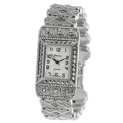 Women's Ornate Rhinestone Accented Link Watch