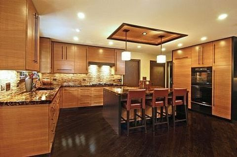 Asian inspired kitchen cabinets granite counters for Acacia kitchen cabinets