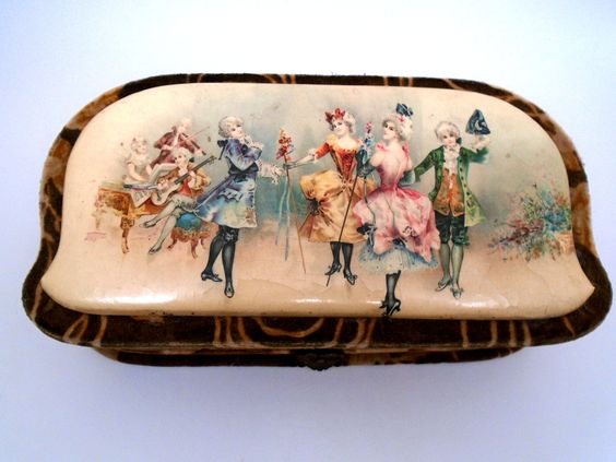 1800's Antique Celluloid French 1800'S Victorian Vanity Box Comb And Brush Art Nouveau Painting Boudoir Home Decor Bridal Gift Mothers day by BagsnBling on Etsy
