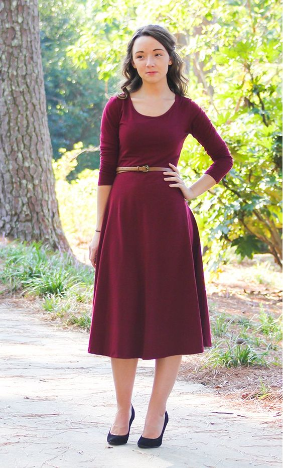 A modest high neck stretch 3/4 sleeve flared dress available in charcoal, black, burgundy S-3XL