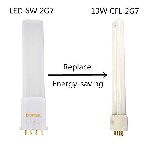 Bonlux 2 Pack Led 2g7 4 Pin Pl Retrofit Lamp Daylight 6000k 180 Degrees 13w Cfl Compact Fluorescent Light Replacement Led Pl Fluorescent Light Downlights Bulb