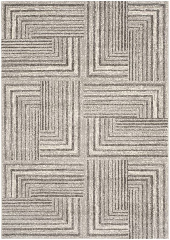 Porcello Contemporary Light Grey & Dark Grey Area Rug