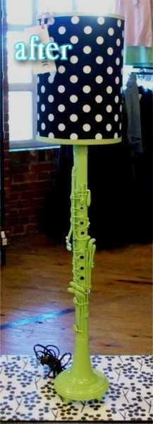 What a cool lamp to make for a music room!  I have just the perfect clarinet for this project...