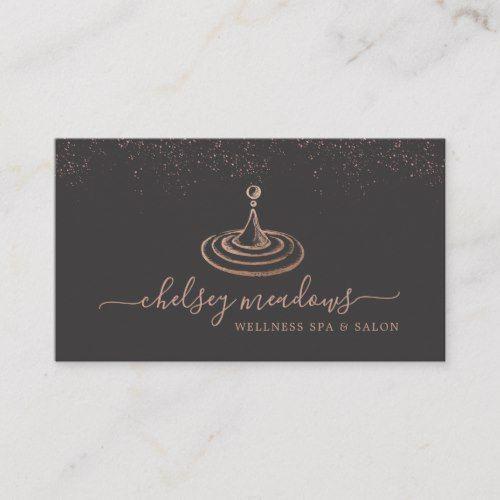 Rose Gold Spa Logo Business Card Zazzle Com Business Card Logo