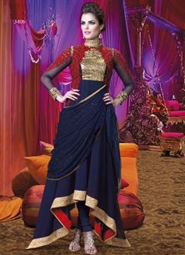 Shop now our latest designed with flower work embroidery on navy blue wedding #anakali #suit.