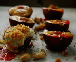 baked plums with creme fraiche and marcona almonds via food52