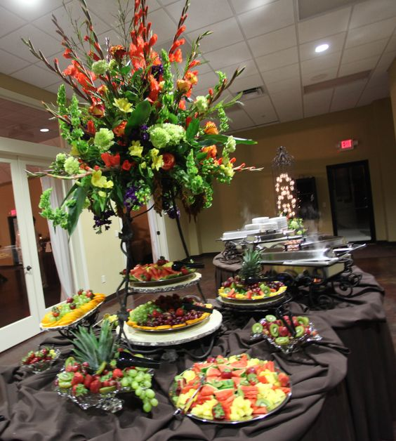 Food buffet centerpiece events rental and floral
