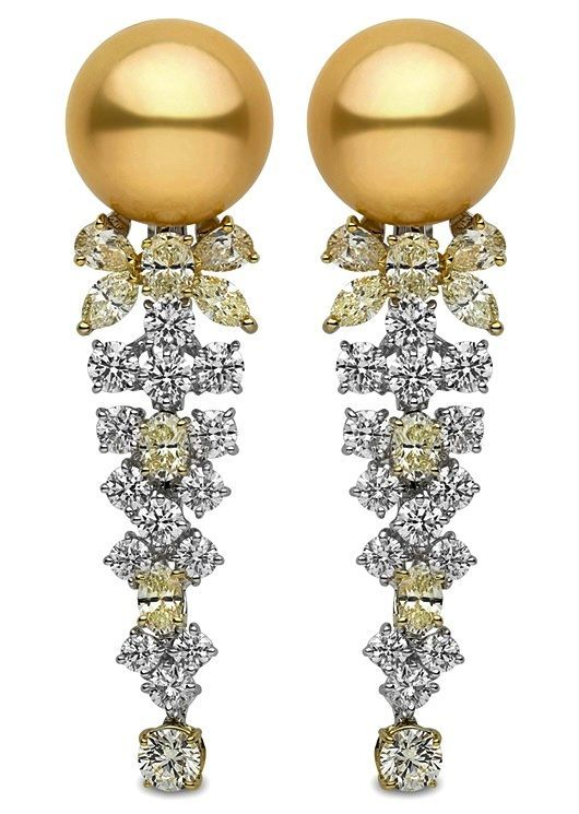 Yoko London Earrings with South Sea pearls and white and yellow diamonds.: