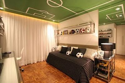 Boy's room with a soccer field on the ceiling. Nice!