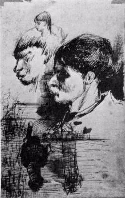 Sketches of Heads. 1884-85. Vincent van Gogh: The Drawings