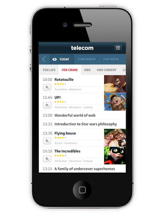Telecommunications company app by Ante Matijaca, via Behance. Streamlined phone guide interface.