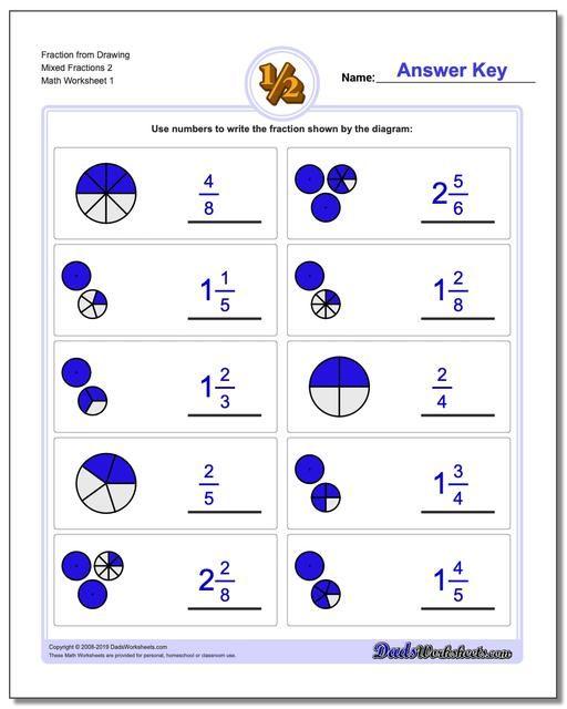Https Www Dadsworksheets Com Graphic Fraction Worksheets Fraction From Drawing Mixed 2 Fractions Worksheets Fractions Math Fractions Worksheets Fractions worksheets with answers for