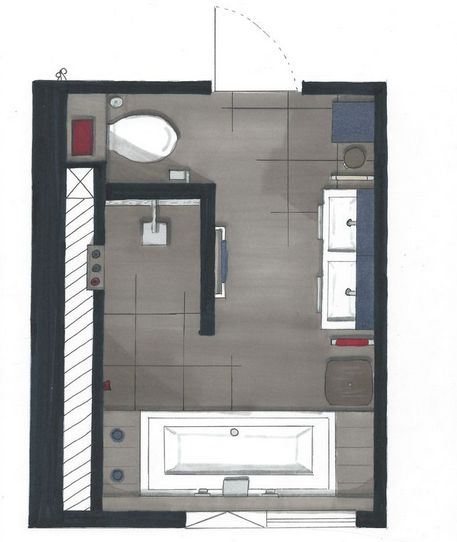 Idee plattegrond badkamer idee n voor het huis pinterest for Badkamer idee