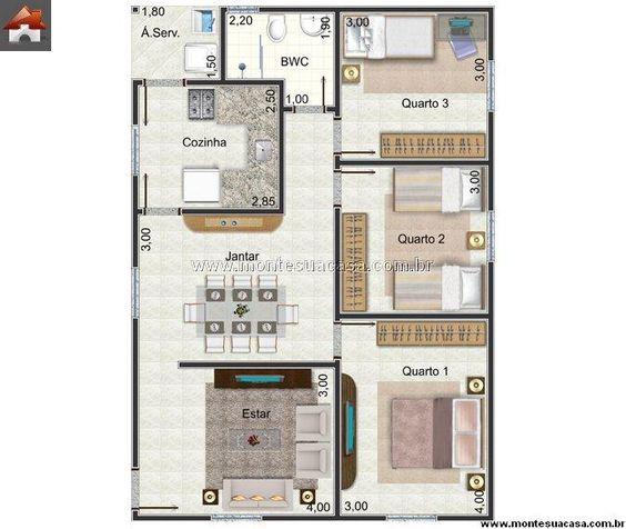 Casa 3 Quartos - 78.97m²