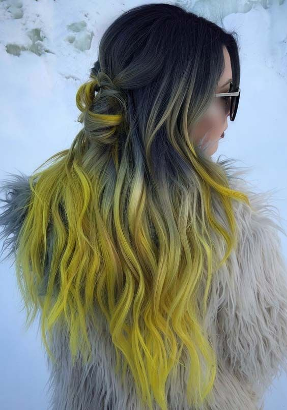 35 Cool Black To Yellow Ombre Hair Color Ideas 2018 Stylescue Black Hair Ombre Yellow Hair Color Ombre Hair
