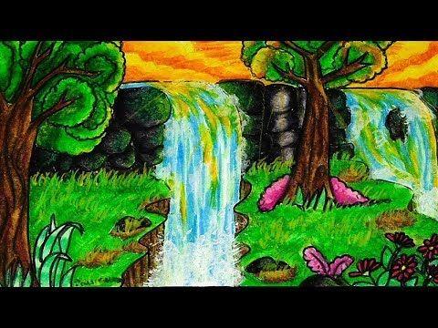 Cara Menggambar Dan Mewarnai Air Terjun Gradasi Warna Oil Pastel Youtube Cara Menggambar Cara Melukis Gambar
