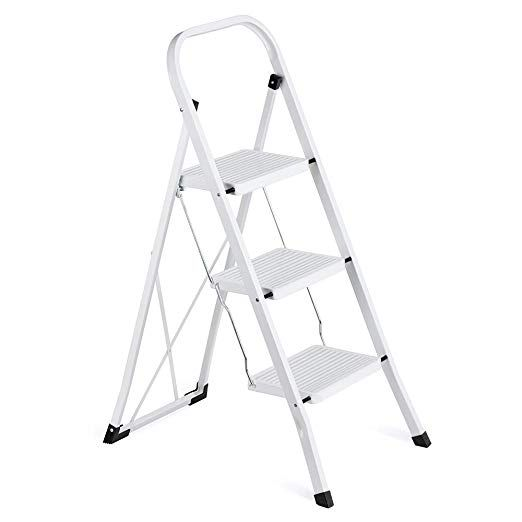 Delxo 3 Step Ladder Folding Step Stool Ladder With Handgrip Anti