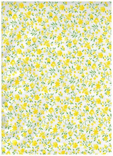 Yellow Flowers Ashley White Contact Paper - Special Design Shelf Liner