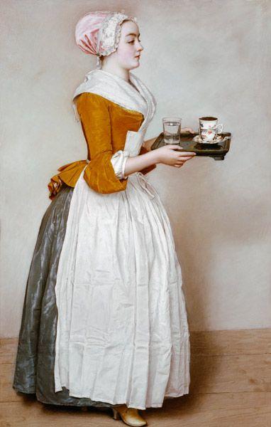 Jean-Étienne Liotard-La Criada de chocolate - Pintura al oleo sobre lienzo montado sobre bastidor -