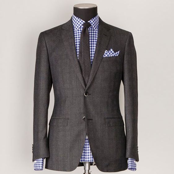 Blue gingham with charcoal suit livens it up & makes more ...