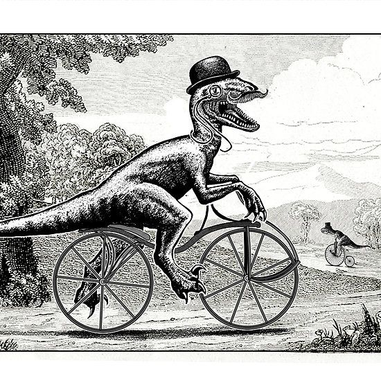 Velociraptor on a Velocipede. Nothing like a quick spin in the country to work up an appetite what? http://www.redbubble.com/people/smaggers/works/14440568-velociraptor-on-a-velocipede?c=366824-dinosaurs-on-bicycles