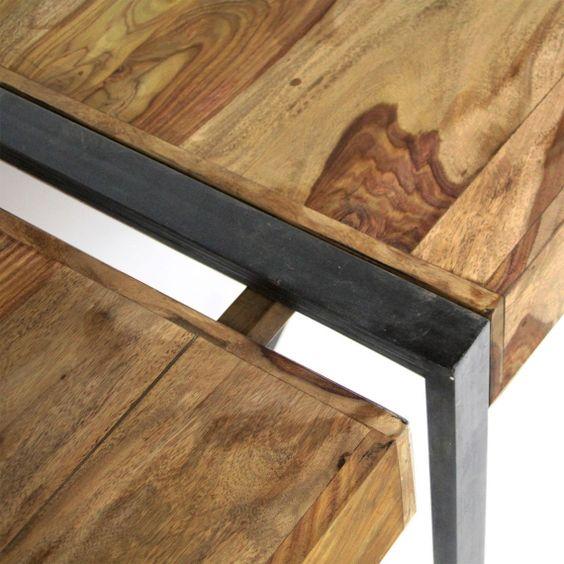 Table A Manger Avec Allonges En Acacia Fonce En 2019 Table A Manger Table A Manger Industriel Et Table Metal Bois