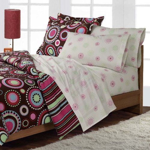 Girls Teen Hippie Chic Hot Pink and Brown Comforter Set with Luscious 250tc Sheets: Amazon.com: Home & Kitchen  For Malina's room!