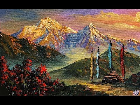Painting A Beautiful Mountain Landscape With Acrylic Scenery Painting Scenery Paintings Mountain Landscape Painting Mountain Landscape