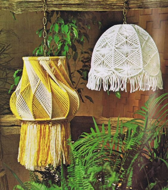 Vintage Macrame Patterns Hanging Lamps Mesh Lamp by Dazespast