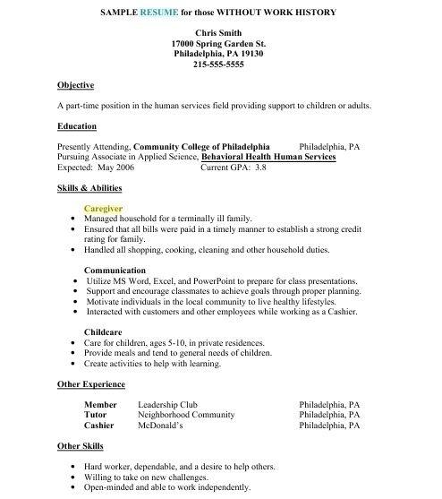 Sample Resume No Job History Sample Resume Amazing Sample Resume