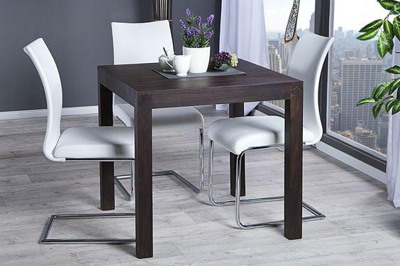 """Sheesham ist ein hochwertiges Holz aus der Gruppe des Rosenholzes. Der massive Esstisch """"LAGOS"""" aus hochwertigem naturbelassenem Sheesham-Holz, strahlt schlichte Eleganz aus und verfügt über eine praktische Länge von 80cm. Die Natürlichkeit und Robustheit des Tisches verbindet sich mit mit dem puristischen Design und sorgt für ein naturbelassenes und klares Ambiente."""