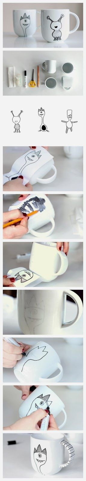 easy diy crafts learn how to decorate a coffee mug with a. Black Bedroom Furniture Sets. Home Design Ideas