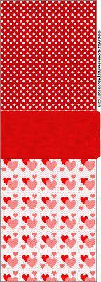 Coração e Vermelho Poá - Kit Completo com molduras para convites, rótulos para guloseimas, lembrancinhas e imagens!