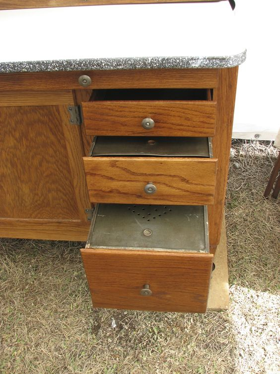 Rare hoosier highboy 48 x 82 cabinet tin drawers with for Kitchen drawers for sale