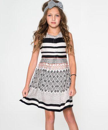 Loving this Black & White Stripe A-Line Dress - Toddler & Girls on #zulily! #zulilyfinds