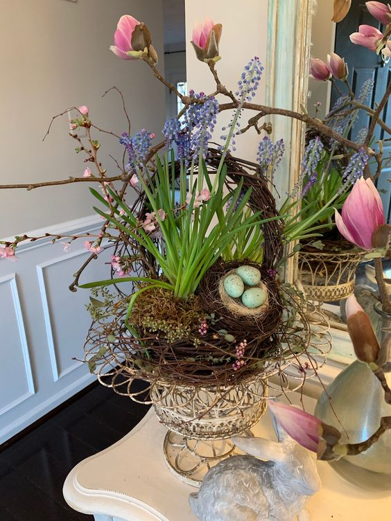 Natural blooming Easter basket with Cherry blossoms, Tulip Magnolias and muscari make for a beautiful welcoming