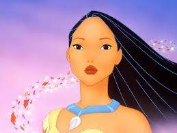 Pocachontas sentindo o vento das diversas rosas rodando sob seu cabelo