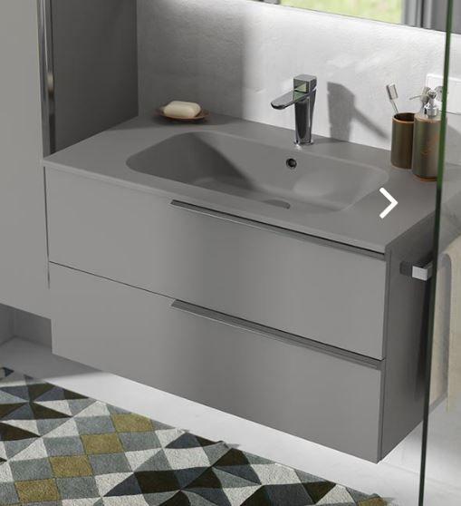 Waschtischanlage Ton In Ton Grau Unterschrank Waschbecken Armaturen Fliesen Naturstein