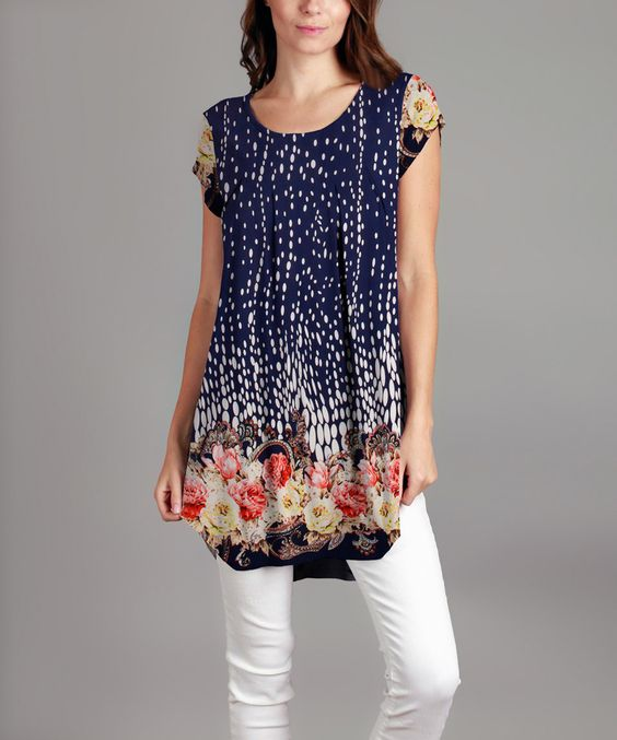 Another great find on #zulily! Blue Floral Tunic - Plus by Sunflower #zulilyfinds